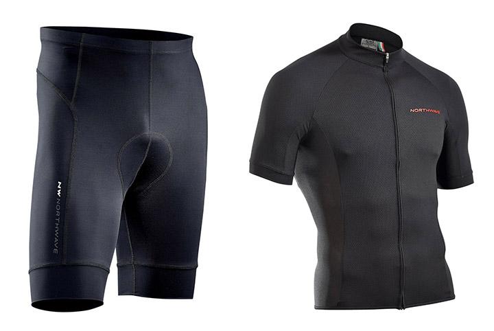 Kolesarska oblačila: oprijete hlače in majica Northwave Force